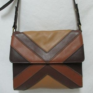 Isabella Fiore patchwork top stitched Leather bag